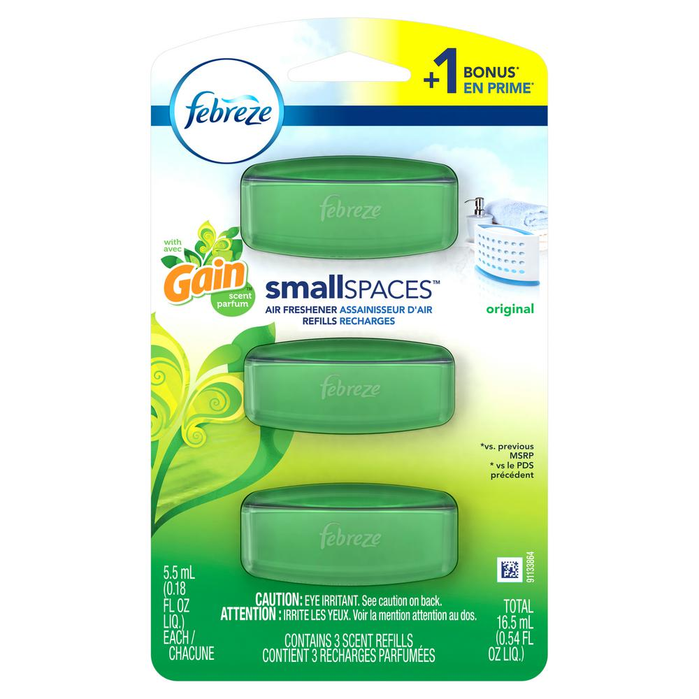 Small Spaces 0.18 oz. Original Scent Air Freshener Refills with Gain