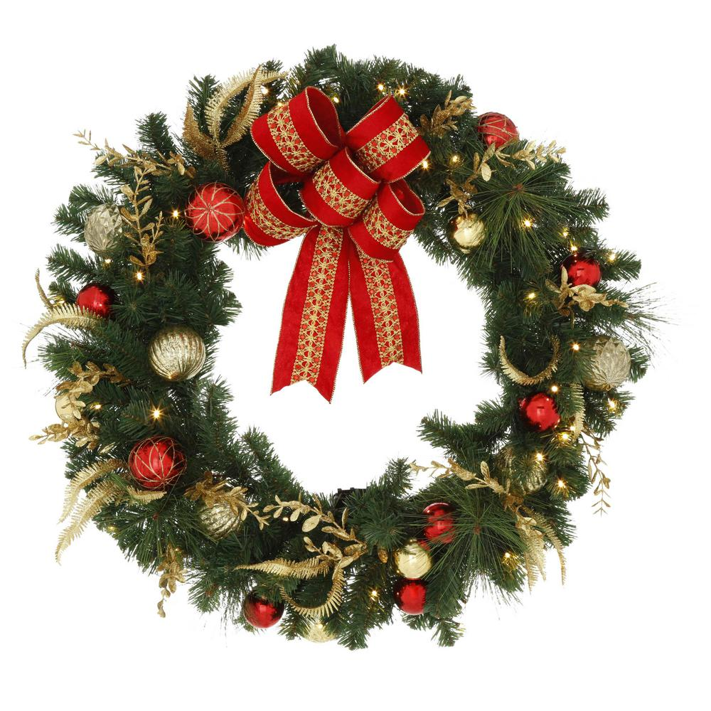 Image Christmas Wreath.Home Accents Holiday 36 In Pre Lit Led New Plaza Artificial Wreath With 50 Warm White Lights