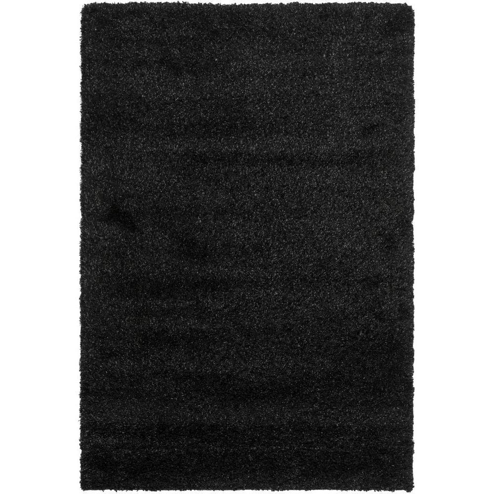 California Shag Black 6 ft. 7 in. x 9 ft. 6