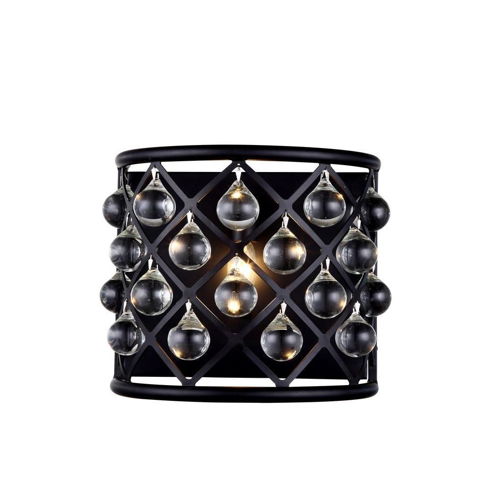 Madison 1-Light Mocha Brown Royal Cut Crystal Wall Sconce