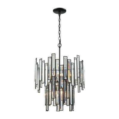 Lineo 6-Light Matte Black With Clear Crystal Chandelier