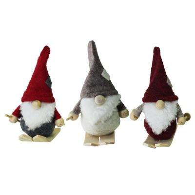 Gray, Burgundy, Red and Gray Skiing Gnomes Hanging Christmas Ornaments (3-Set)