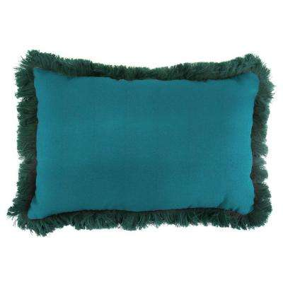 Sunbrella 19 in. x 12 in. Spectrum Peacock Lumbar Outdoor Throw Pillow with Forest Green Fringe
