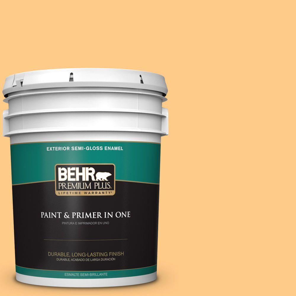 BEHR Premium Plus 5-gal. #290B-5 Torchlight Semi-Gloss Enamel Exterior Paint