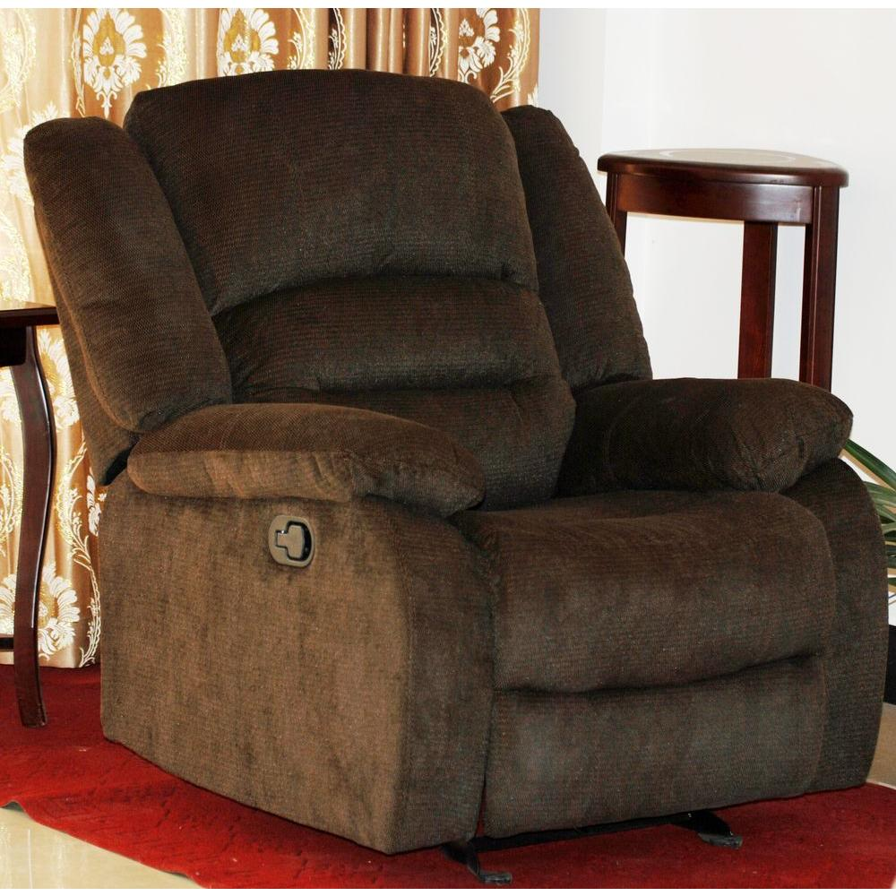 Nadia Contemporary Microfiber Recliner Chair, Dark Brown