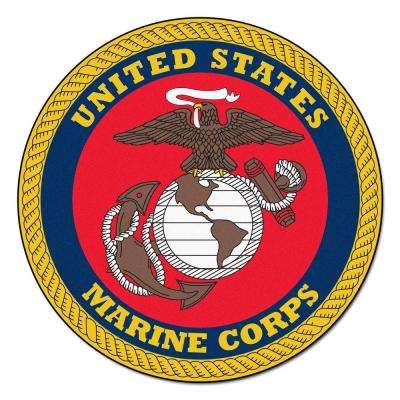 MIL U.S. Marines Red 3 ft. 8 in. x 3 ft. 8 in. Round Indoor Accent Rug