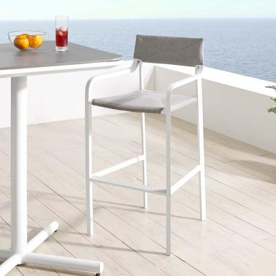 Super Safavieh Gresley Grey And White Wicker Outdoor Bar Stool Ibusinesslaw Wood Chair Design Ideas Ibusinesslaworg