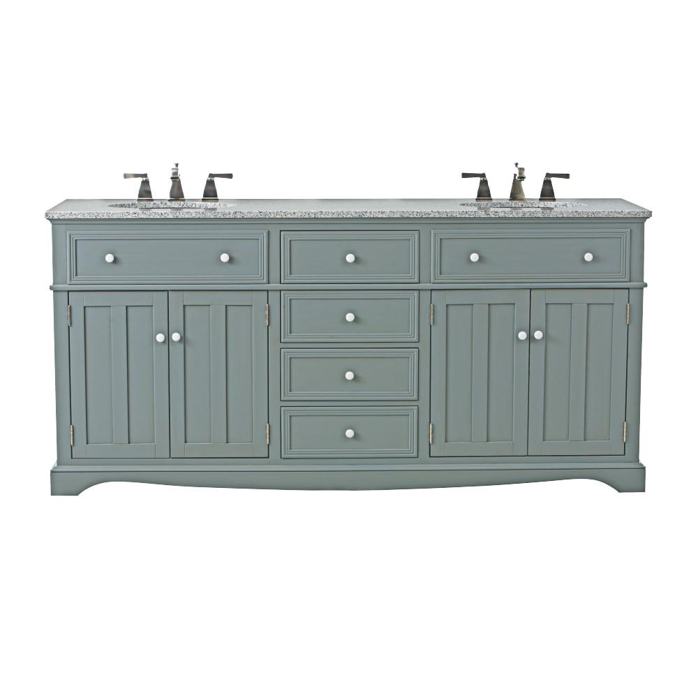 Home decorators collection fremont 72 in w x 22 in d double bath vanity in grey with granite - Double bathroom vanities granite tops ...