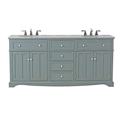 Fremont 72 in. W x 22 in. D Double Bath Vanity in Grey with Granite Vanity Top in Grey