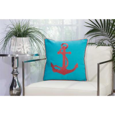 Embroidered Anchor Turquoise and Coral Geometric Stain Resistant Polyester 18 in. x 18 in. Throw Pillow