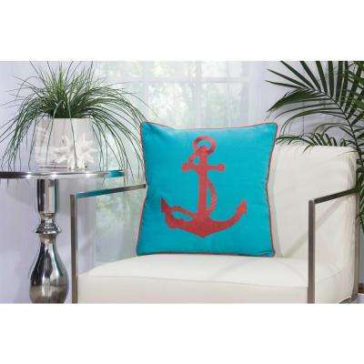 Embroidered Anchor 18 in. x 18 in. Turquoise and Coral Indoor and Outdoor Pillow