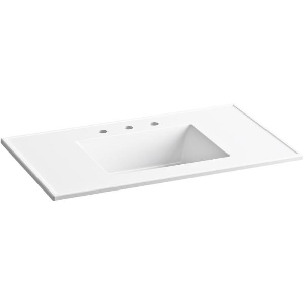 Kohler Ceramic Impressions 37 In W Rectangular Vanity Top With 8 In Widespread Faucet Holes In White K 2781 8 0 The Home Depot