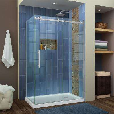 Enigma Air 48-3/8 in. x 76 in. Frameless Corner Sliding Shower Door in Brushed Stainless Steel with Handle