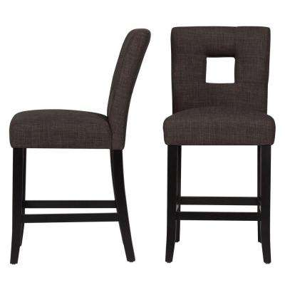 24 in. Sorrento Charcoal Cushioned Bar Stool (Set of 2)