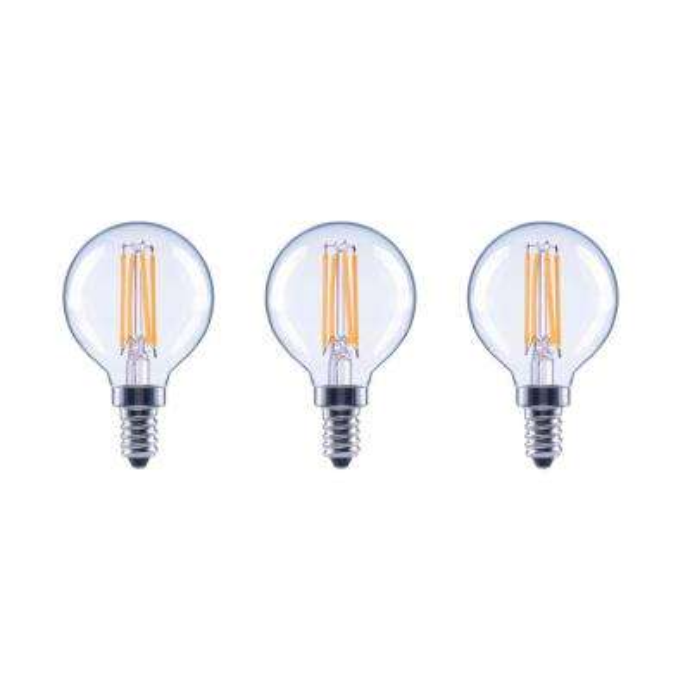 40-Watt Equivalent G16.5 Dimmable ENERGY STAR Clear Glass Filament Vintage Edison LED Light Bulb Bright White (3-Pack)