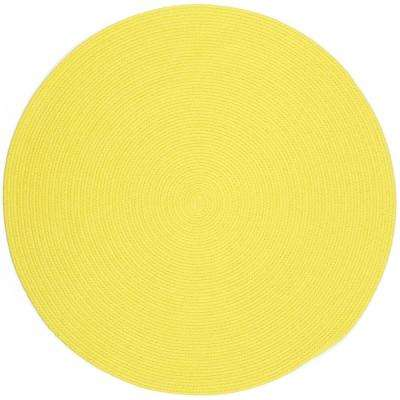 Joy Braids Solid Yellow 4 ft. x 4 ft. Round Indoor/Outdoor Braided Area Rug