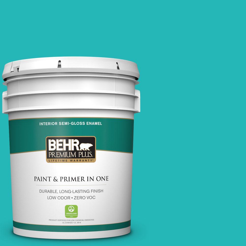 5 gal. #MQ4-21 Caicos Turquoise Semi-Gloss Enamel Zero VOC Interior Paint and Primer in One
