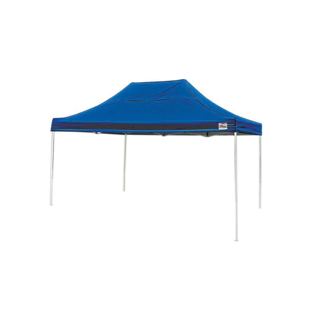 ShelterLogic Pro 10 ft. x 15 ft. Straight Leg Pop-Up Canopy,  Terracotta Cover,  Black Bag,  Blue