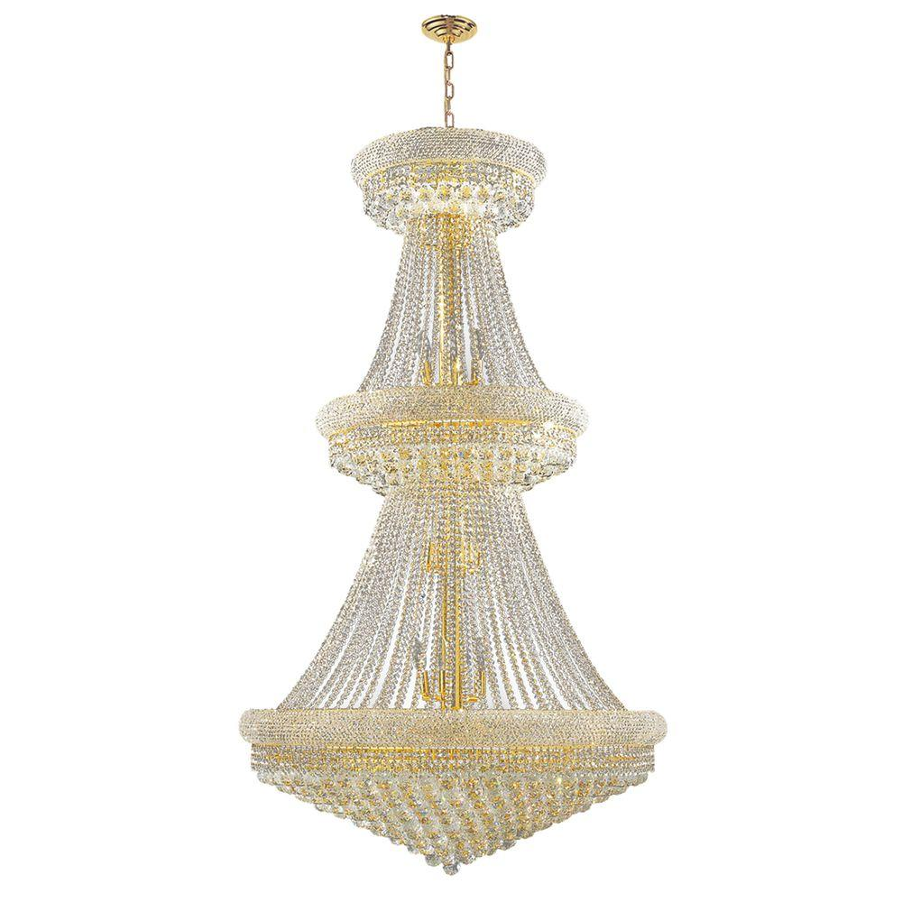 Worldwide lighting empire collection 32 light polished gold and worldwide lighting empire collection 32 light polished gold and clear crystal chandelier aloadofball Image collections