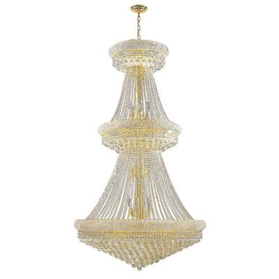 Empire Collection 32-Light Polished Gold and Clear Crystal Chandelier