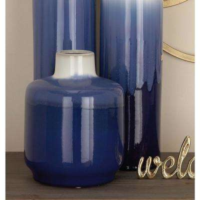 10 in. White and Blue Ceramic Decorative Vase