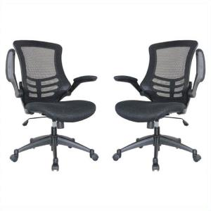 Manhattan Comfort Lenox Mesh Adjustable Black Office Chair (Set of 2) by Manhattan Comfort