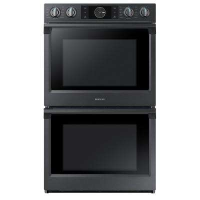 30 in. Double Electric Wall Oven, Self-Cleaning with Steam Cooking and Dual Convection in Black Stainless
