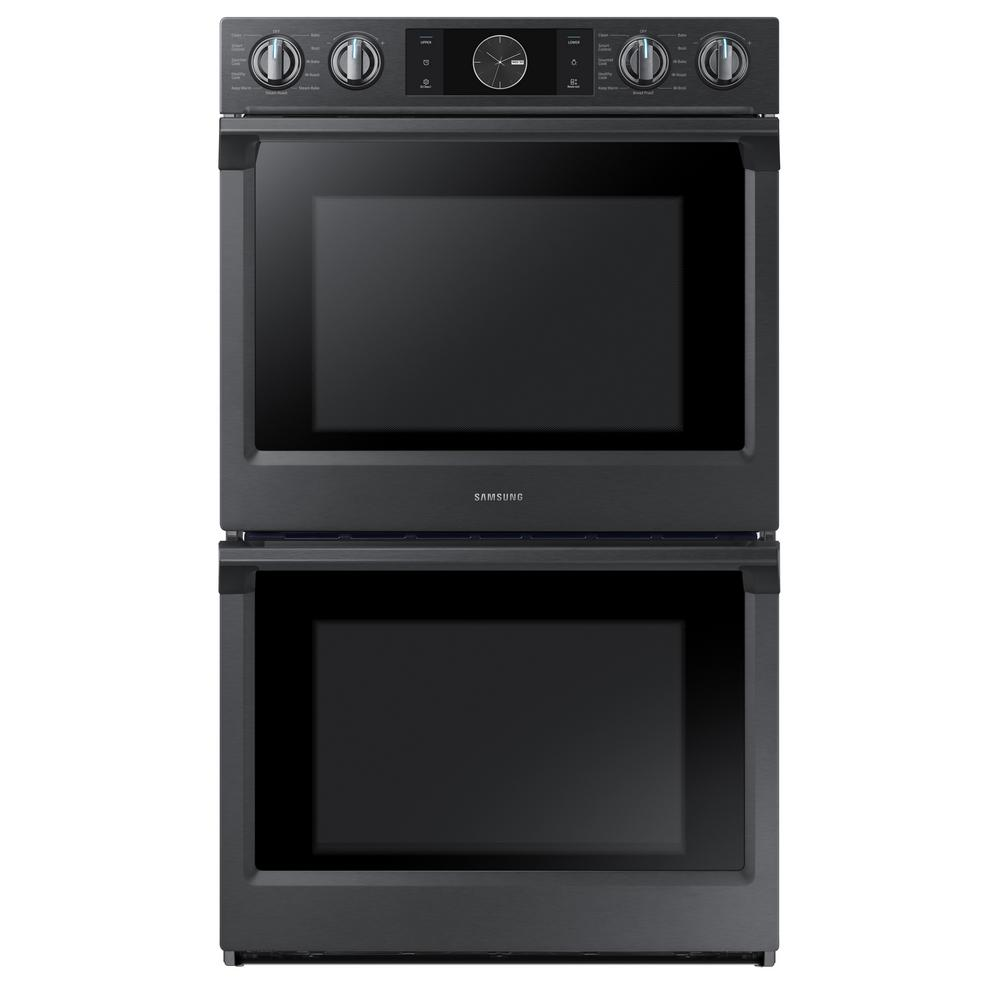 Samsung 30 in. Double Electric Wall Oven with Steam Cook, Flex Duo and Dual Convection in Fingerprint Resistant Black Stainless