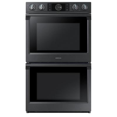 30 in. Double Electric Wall Oven with Steam Cook, Flex Duo and Dual Convection in Fingerprint Resistant Black Stainless