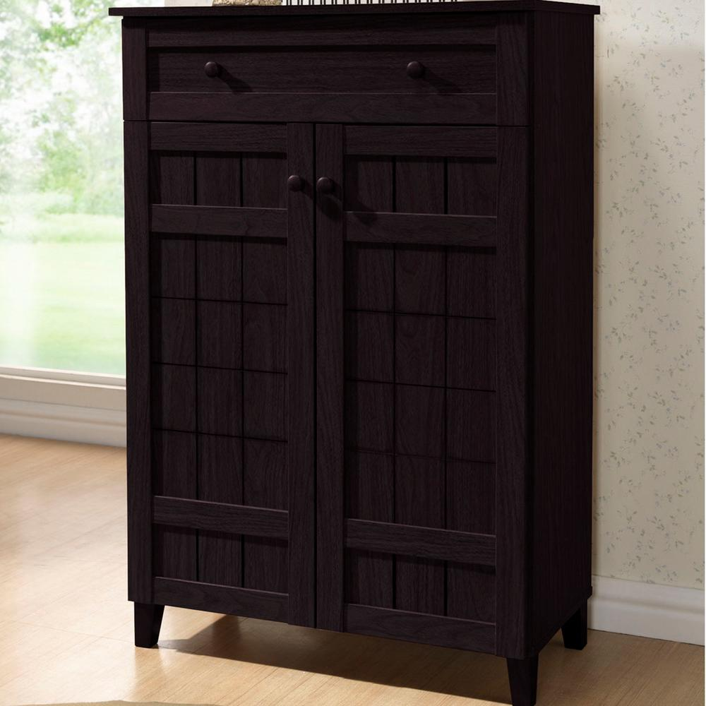 Baxton Studio Glidden Dark Brown Wood Tall Storage Cabinet