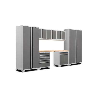 Pro 3 Series 85 in. H x 156 in. W x 24 in. D 18-Gauge Welded Steel Cabinet Set in Platinum (8-Piece)