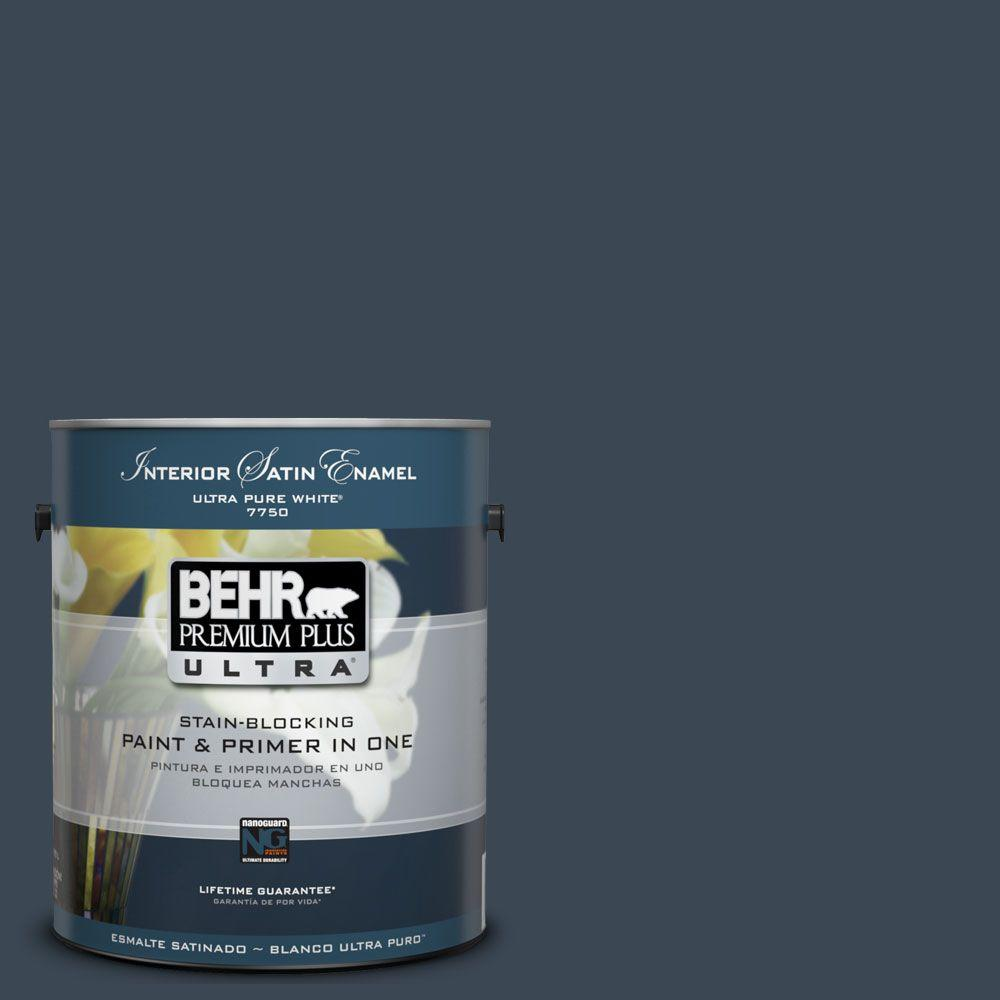 Behr premium plus ultra 1 gal ul230 1 starless night satin enamel interior paint and primer in for Best exterior paint and primer in one