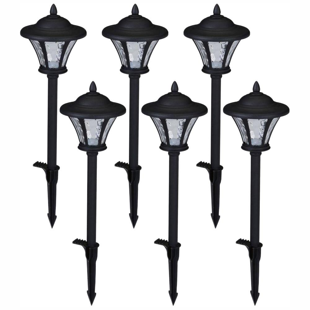 Hampton Bay Low Voltage Black Outdoor Integrated Led Landscape Coach Style Path Light With Water Gl Lens 6 Pack