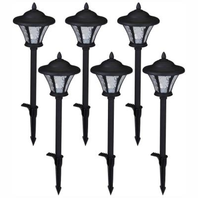 Low-Voltage Black Outdoor Integrated LED Landscape Coach Style Path Light with Water Glass Lens (6-Pack)