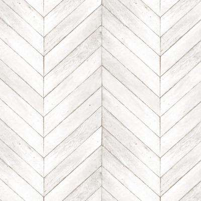 Ivory, Beige and Taupe Faux Chevron Wood Wallpaper