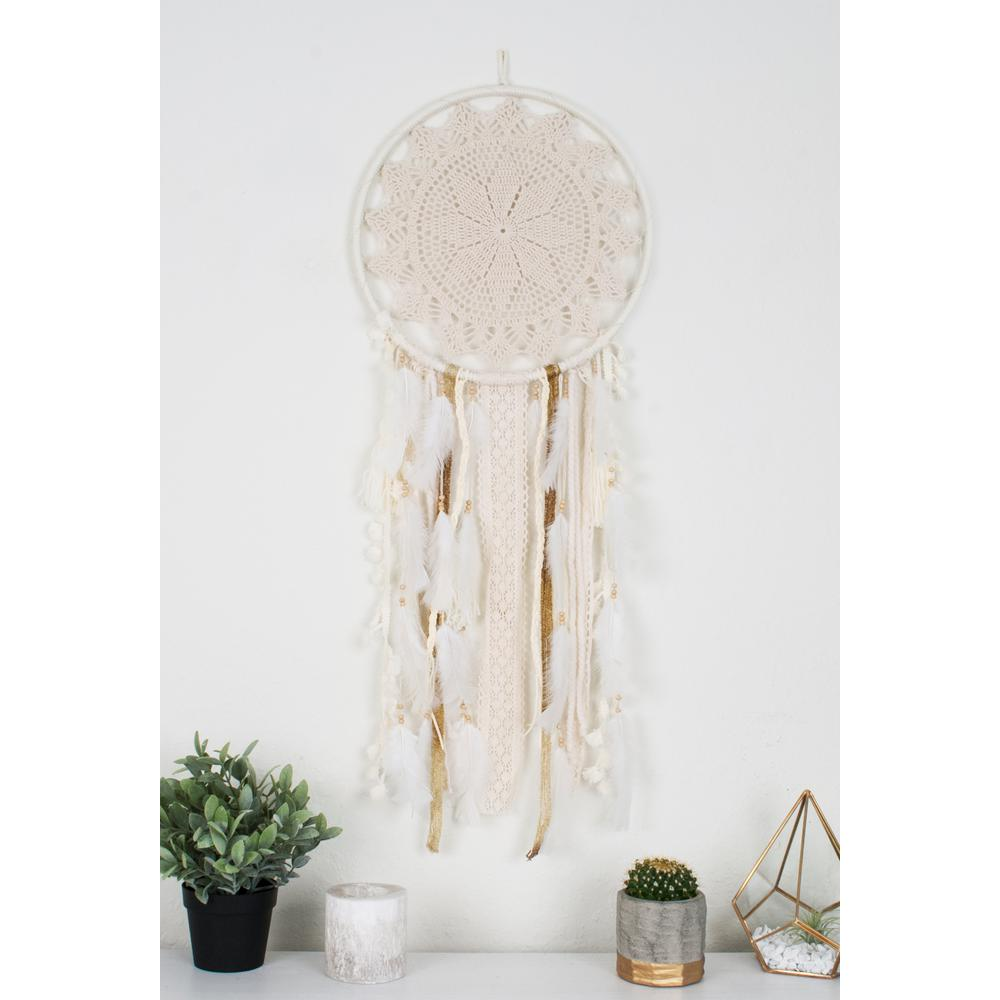 The Oliver Gal Artist Co Off White Handmade Boho Feather