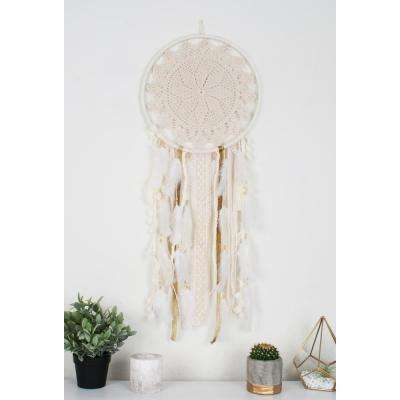 Off White Handmade Boho Feather Dreamcatcher Wall Hanging