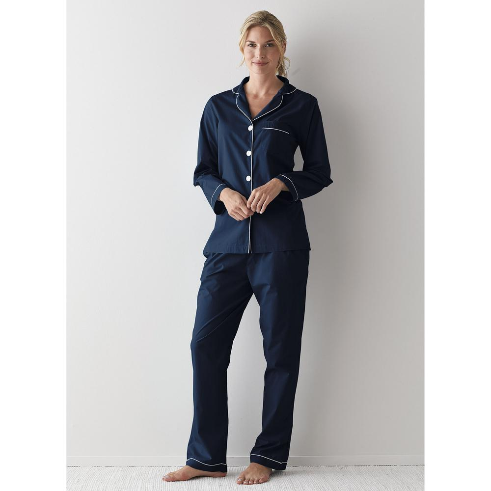 169d4948cfca The Company Store Solid Poplin Cotton Women s Extra Large Navy Pajama Set- 68002A-XL-NAVY - The Home Depot