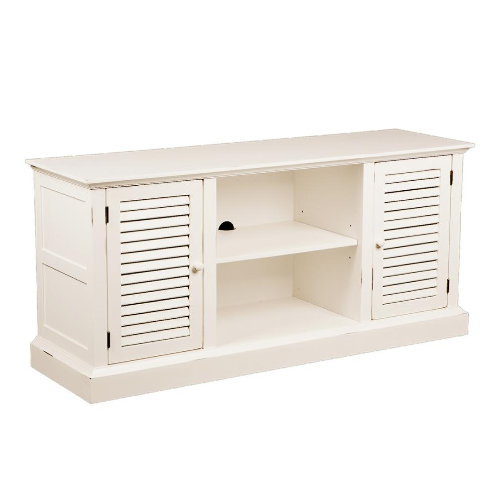 Southern Enterprises Antebellum White Storage Entertainment Center