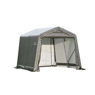 8 ft. x 16 ft. x 8 ft. Grey Steel and Polyethylene Garage without Floor