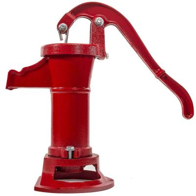 Heavy Duty Cast Iron Well Water Pitcher Hand Pump Red 25 Ft Max Lift Outdoor