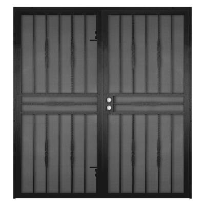 60 in. x 80 in. Cottage Rose Black Surface Mount Outswing Steel Security Double Door with Expanded Metal Screen