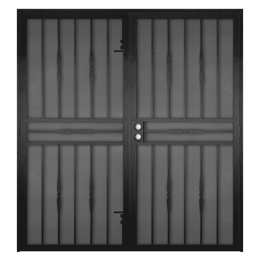 Cottage Rose Black Surface Mount Outswing Steel Security Double Door With  Expanded Metal Screen
