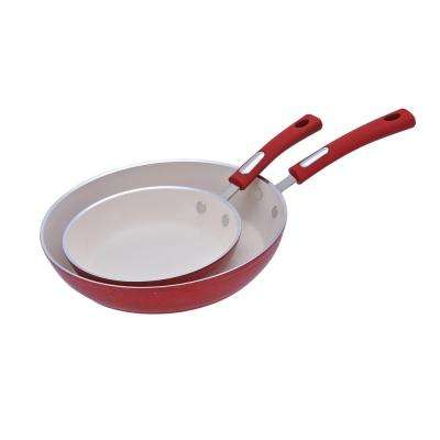2-Piece Forged Aluminum Fry Pan Set with Speckled Red Enamel Finish