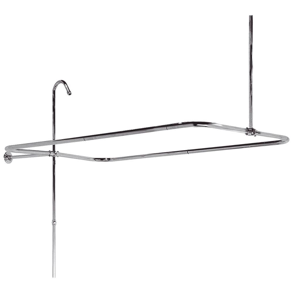 Elizabethan Classics 60 in. x 31 in. End Mount Shower Riser with Enclosure in Satin Nickel