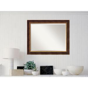 Veneto Distressed Black Wood 33 in. W x 27 in. H Traditional Framed Mirror