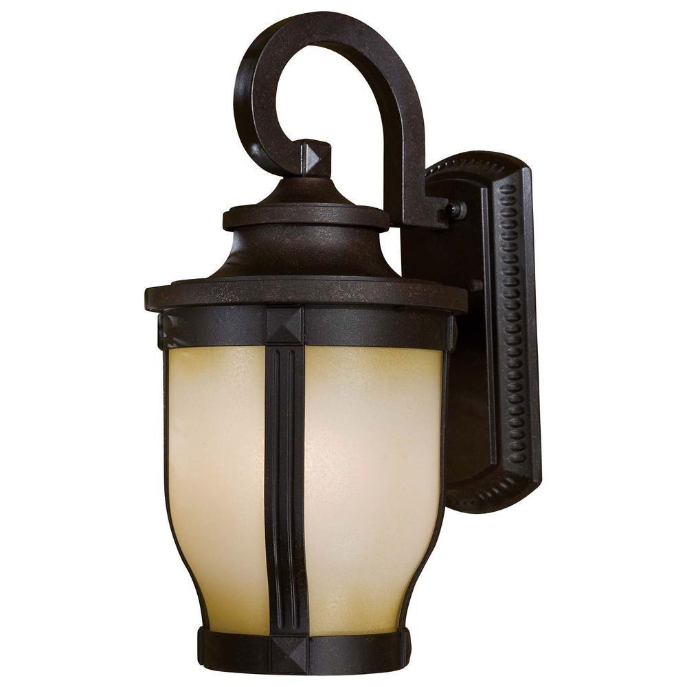 1-Light Corona Bronze Outdoor Wall Lantern Sconce