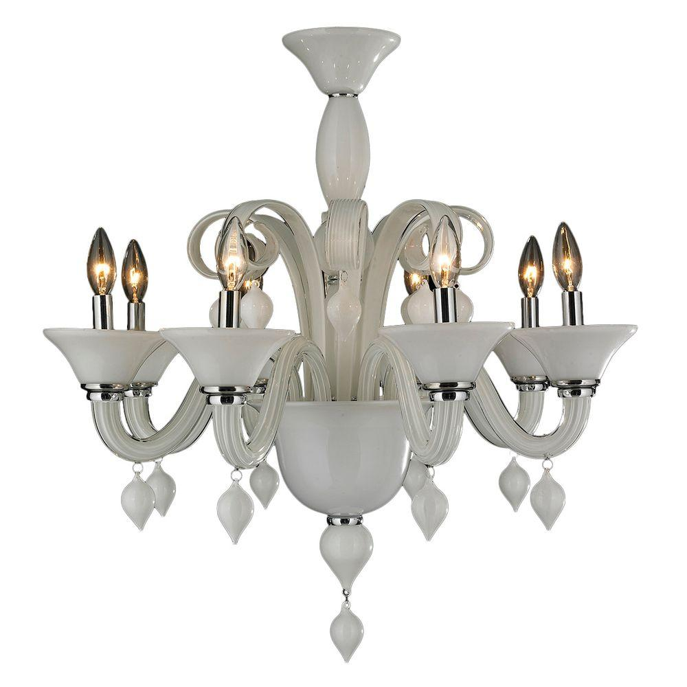 Worldwide Lighting Murano Venetian Style 8 Light White N Gl Chandelier