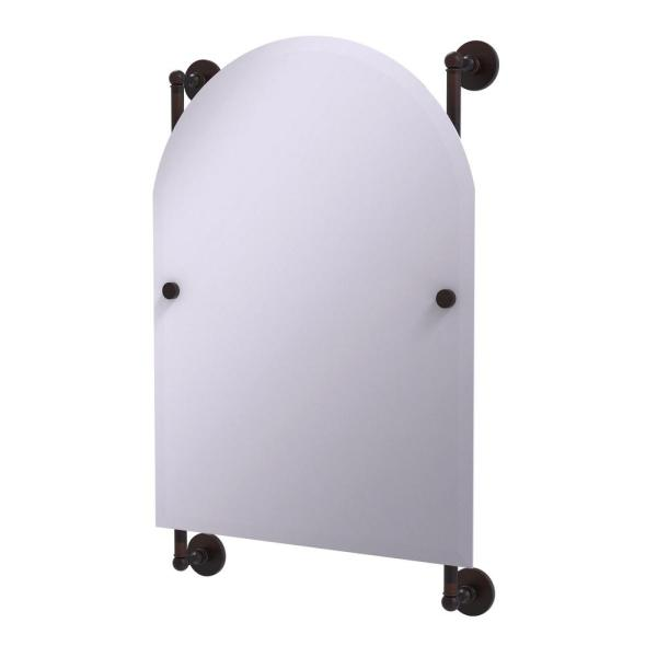 Prestige Skyline Collection Arched Top Frameless Rail Mounted Mirror in Venetian Bronze