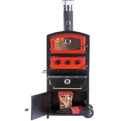Alto Series Wood and Charcoal Fired Oven and Smoker with Warming Drawer and Storage Box in Red